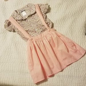 Skirted jumper outfit with floral top
